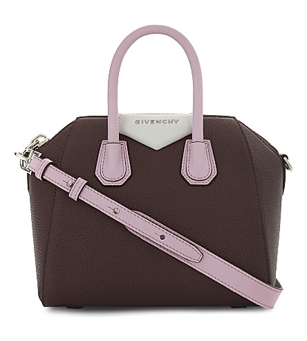 GIVENCHY Antigona Sugar mini leather shoulder bag (Burgundy+pink