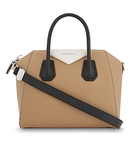 GIVENCHY Antigona small tri-colour grained leather tote (Beige+black+white