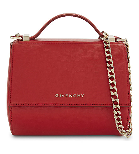 GIVENCHY Pandora Mini Leather Shoulder Bag in Red