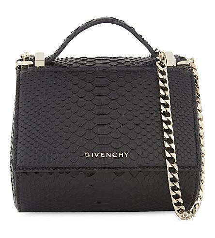 GIVENCHY Pandora snakeskin cross-body bag (Black