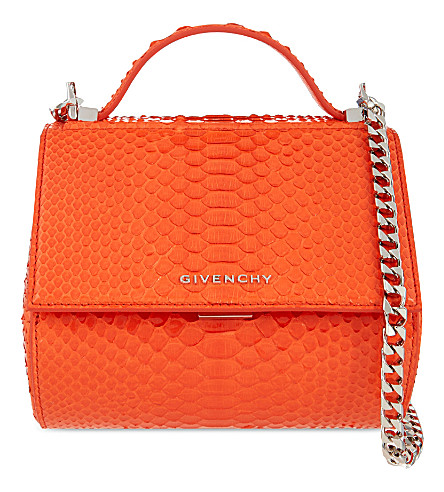 GIVENCHY Pandora python-leather box bag (Orange fluo