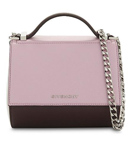 GIVENCHY Pandora leather shoulder bag (Burgundy+pink