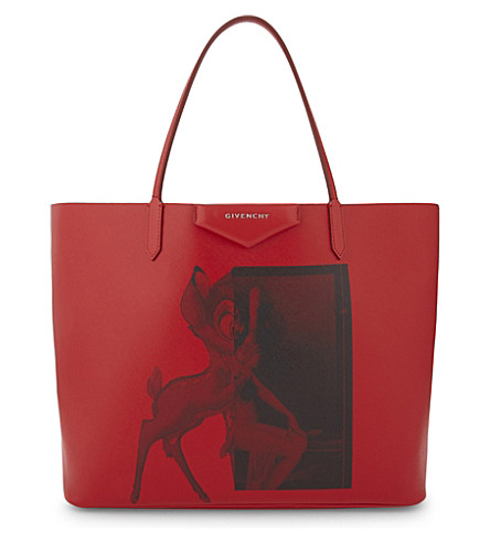 GIVENCHY Antigona large leather Bambi print tote (Red