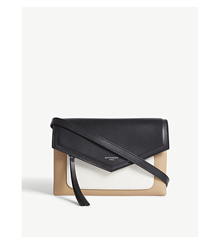 GIVENCHY Duetto Tricol leather cross-body bag (Light+beige