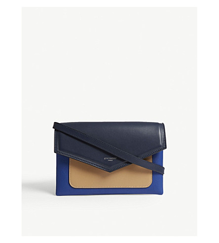 GIVENCHY Duetto leather cross-body bag (Night+blue