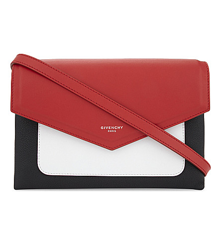GIVENCHY Duetto leather cross-body bag (Black/white/red