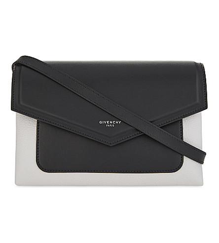GIVENCHY Duetto leather cross-body bag (Black+white
