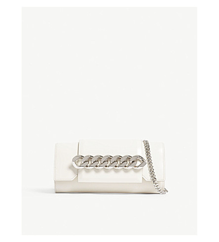 GIVENCHY Infinity leather clutch with chain (Off+white