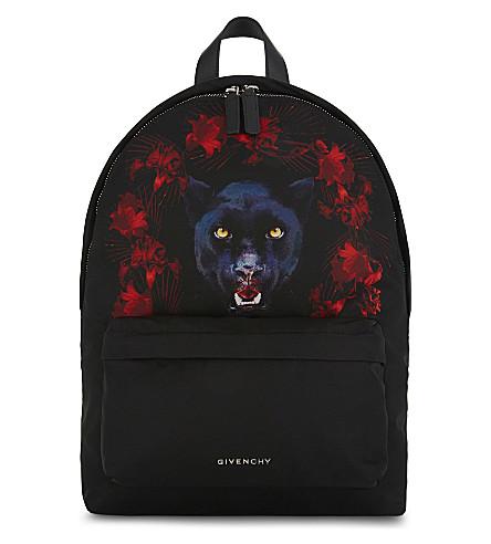 GIVENCHY Jaguar-print small nylon backpack (Black