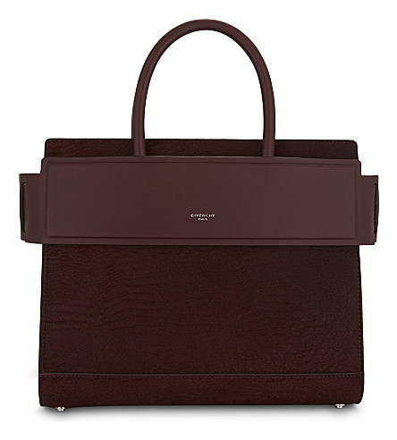 GIVENCHY Horizon astrakhan small tote (Oxblood+red