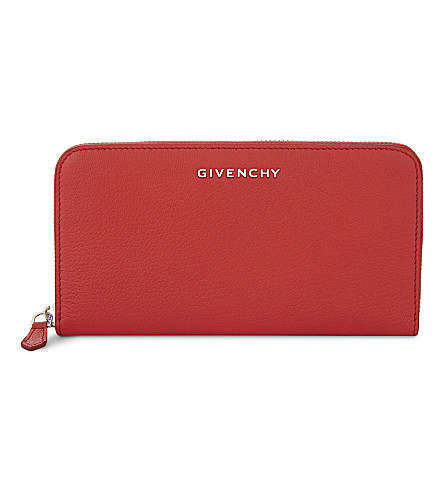 GIVENCHY Grained leather zip-around wallet (Red