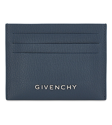 GIVENCHY Grained leather card holder (Peacock+blue