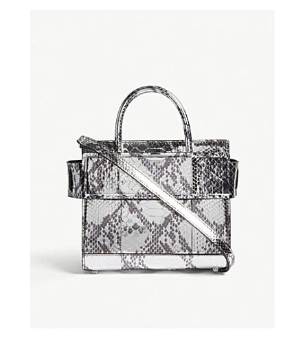 GIVENCHY Horizon mini metallic python-embossed leather tote (Silver