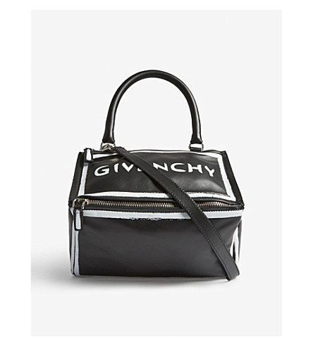 GIVENCHY Pandora Graffiti leather shoulder bag (Black+white