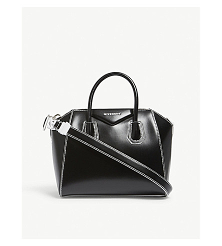 GIVENCHY Antigona Shine small leather tote (Black+white