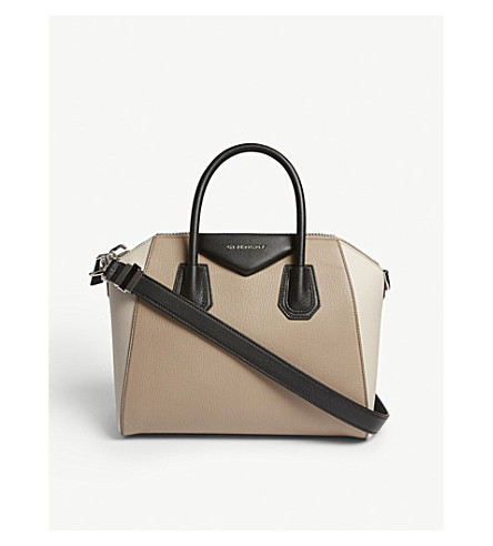 GIVENCHY Antigona small grained leather shoulder bag (Beige+linen