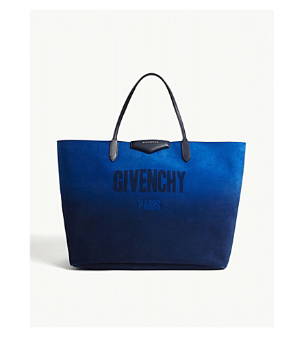 GIVENCHY Antigona reversible leather tote (Blue+silver