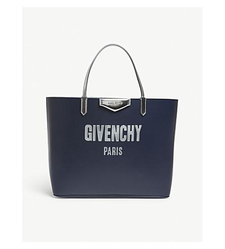 GIVENCHY Antigona logo leather tote (Night+blue
