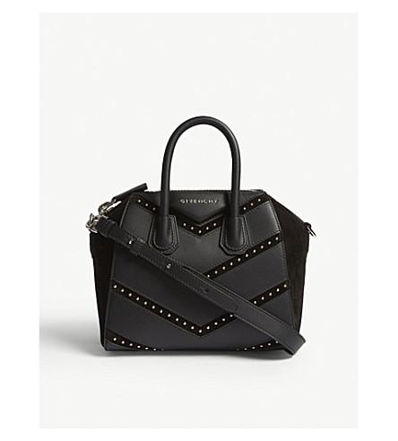 GIVENCHY Mini Antigona chevron leather and suede shoulder bag (Black