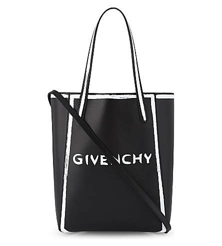 GIVENCHY Stargate graffiti logo leather tote bag (Black