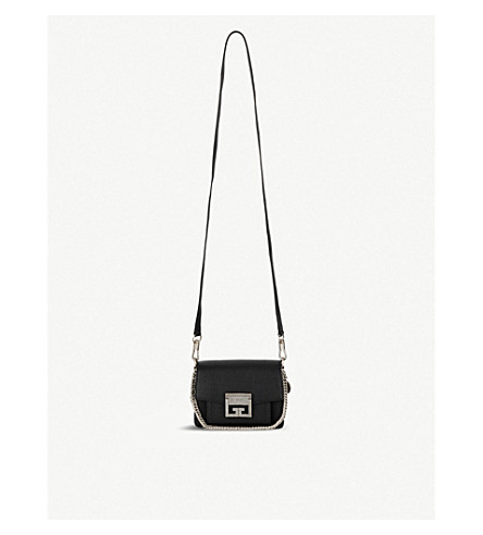 GIVENCHY GV3 Logo mini leather cross-body bag (Black/silver