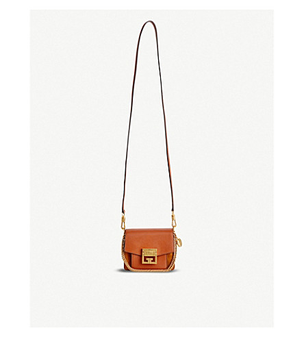 GIVENCHY GV3 Mini leather and suede cross-body bag (Chestnut