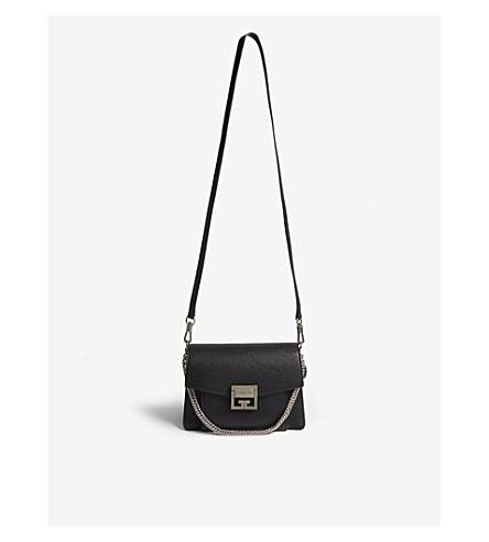 GIVENCHY GV3 small leather shoulder bag (Black/silver
