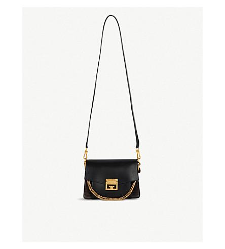 GIVENCHY GV3 leather and suede shoulder bag (Black/gold