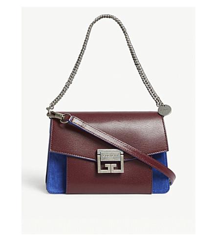 d7988176873e9f ... GIVENCHY GV3 small leather-suede shoulder bag (Aubergine/blue.  PreviousNext