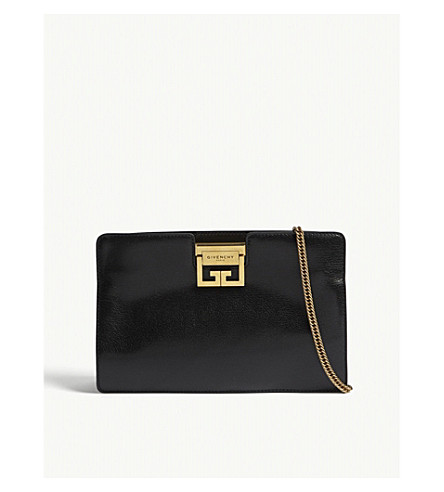 LOGO GRAINED LEATHER CLUTCH