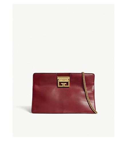 GIVENCHY GV3 leather clutch (Dark+red