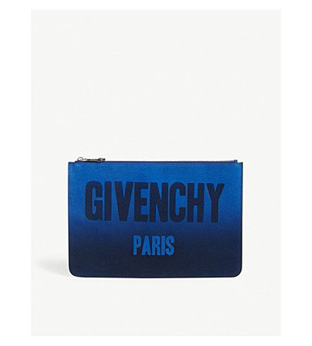 GIVENCHY Logo ombre medium suede pouch (Blue+silver