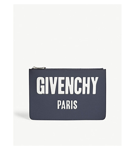 GIVENCHY Logo leather pouch (Night+blue