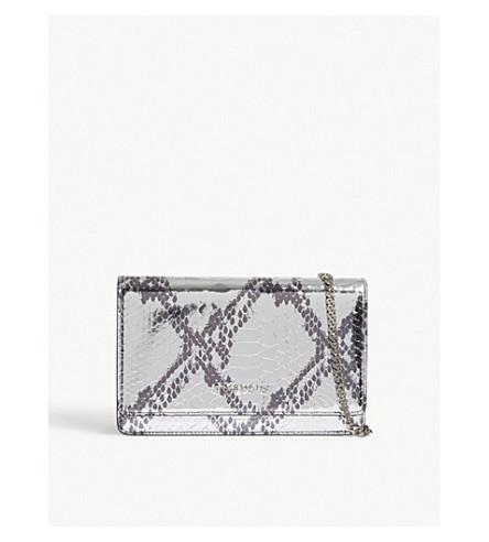 GIVENCHY Pandora metallic finish python-effect leather cross-body bag (Silver