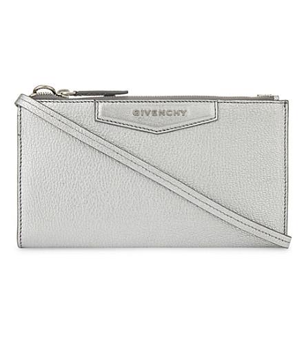GIVENCHY Antigona metallic leather wallet-on-chain (Silver