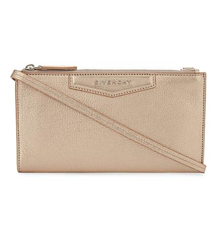 GIVENCHY Antigona metallic leather wallet-on-chain (Rose+gold