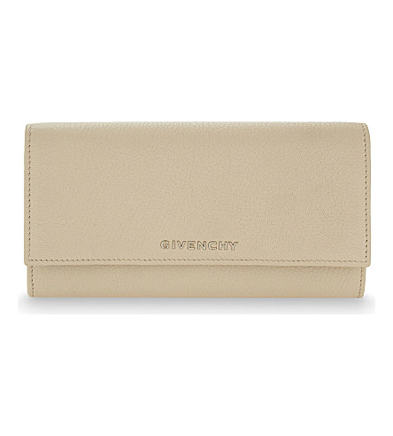 GIVENCHY Leather flapover wallet (Nude+pink