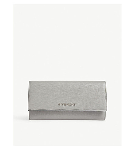 GIVENCHY Grained leather wallet (Pearl+grey