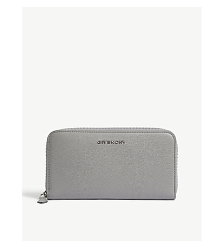 GIVENCHY Grained leather continental wallet (Pearl+grey