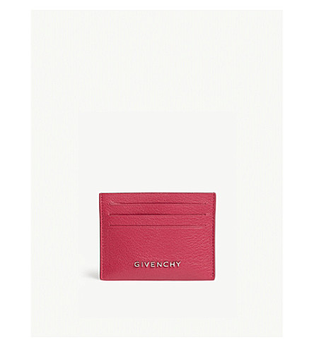 GIVENCHY Logo grained leather card holder (Fuschia
