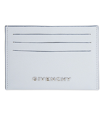 GIVENCHY Grained leather card holder (Baby+blue