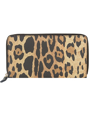 GIVENCHY Leopard print leather zip-around wallet