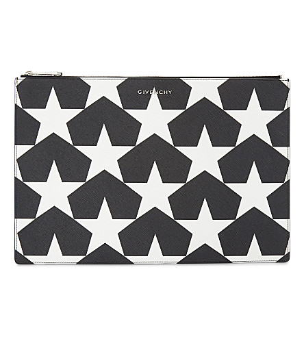 GIVENCHY Star leather pouch (Black+white