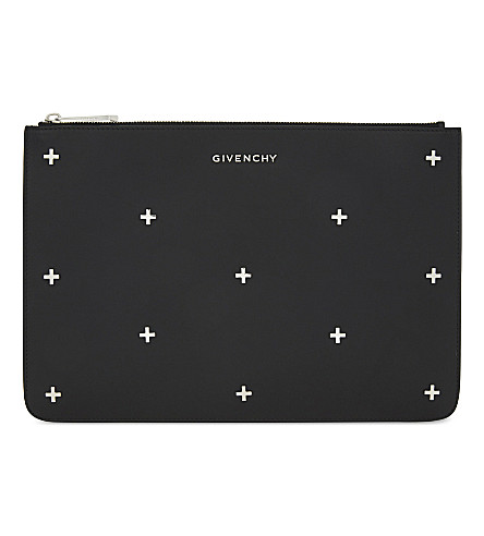 GIVENCHY Cross medium leather pouch (Black