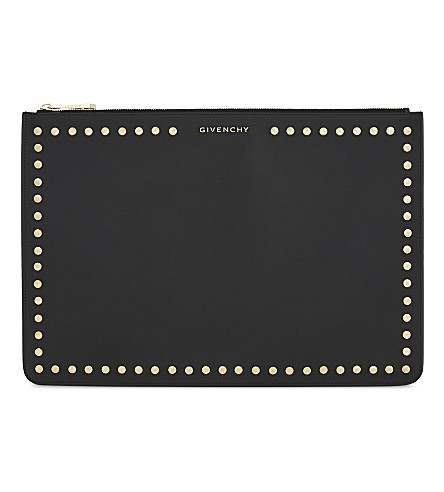 GIVENCHY Studded large leather pouch (Black