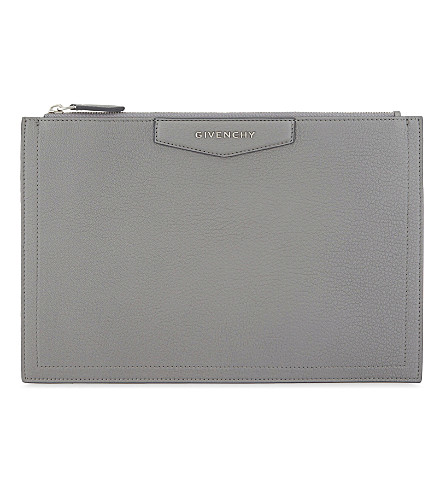 GIVENCHY Antigona leather pouch (Pearl+grey