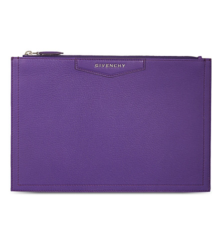 GIVENCHY Antigona medium soft-grain leather pouch (Purple