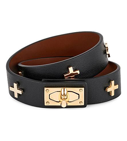 GIVENCHY Shark lock cross leather bracelet (Black