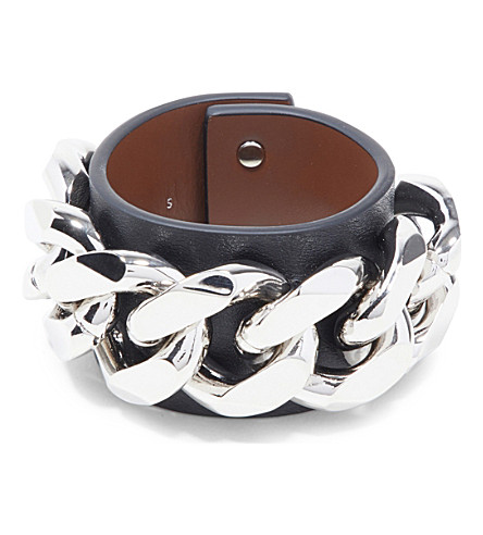 GIVENCHY Infinity Chain leather bracelet (Black/silver