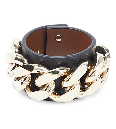 GIVENCHY Infinity Chain leather bracelet (Black/gold
